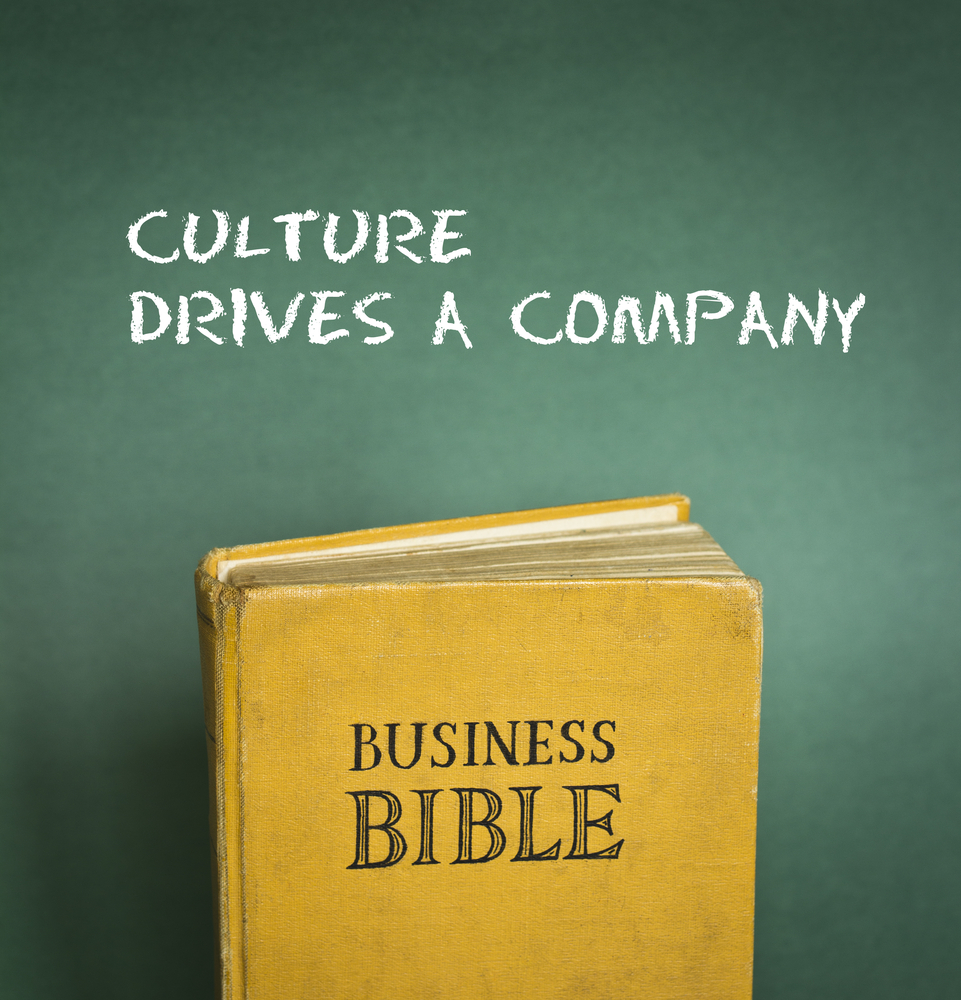 Picture of a bible and a statement saying that culture drive a strategy