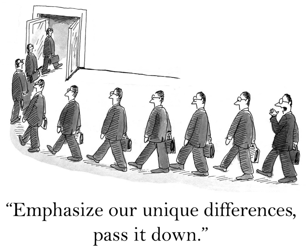 """Identical men in business suits march in line with the comment, """"Emphasize our unique differences; pass it down."""""""