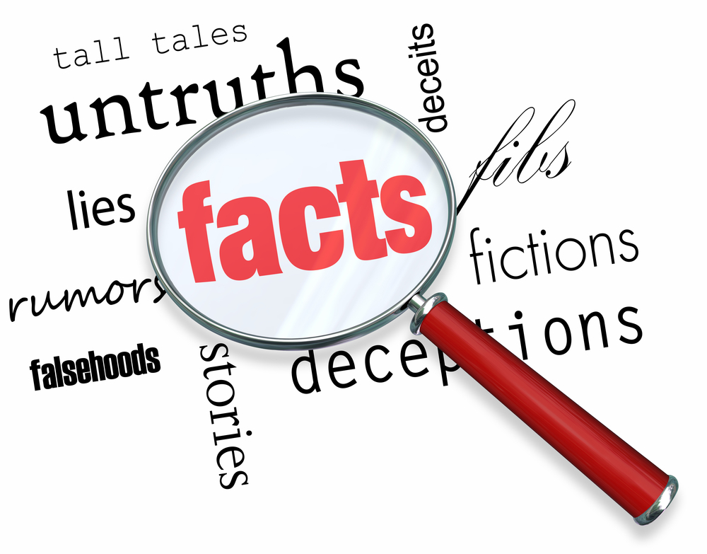 "A magnifying glass highlights the word ""facts"" to show their importance"