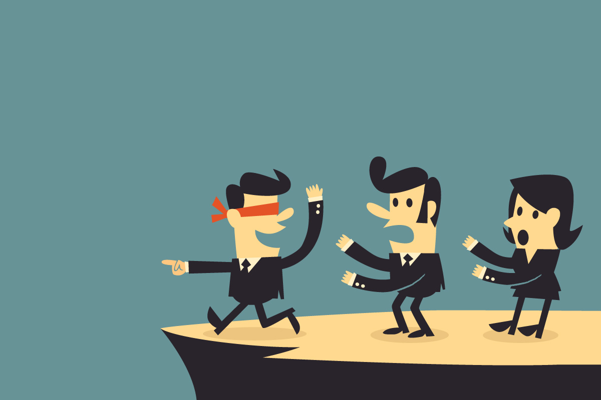 3 cartoon businessmen are on a cliff; one is blindfolded and about to fall off