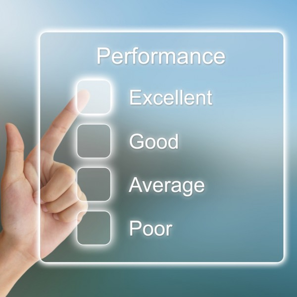 Influence Your Corporate Culture A finger points to Excellence on a performance rating chart