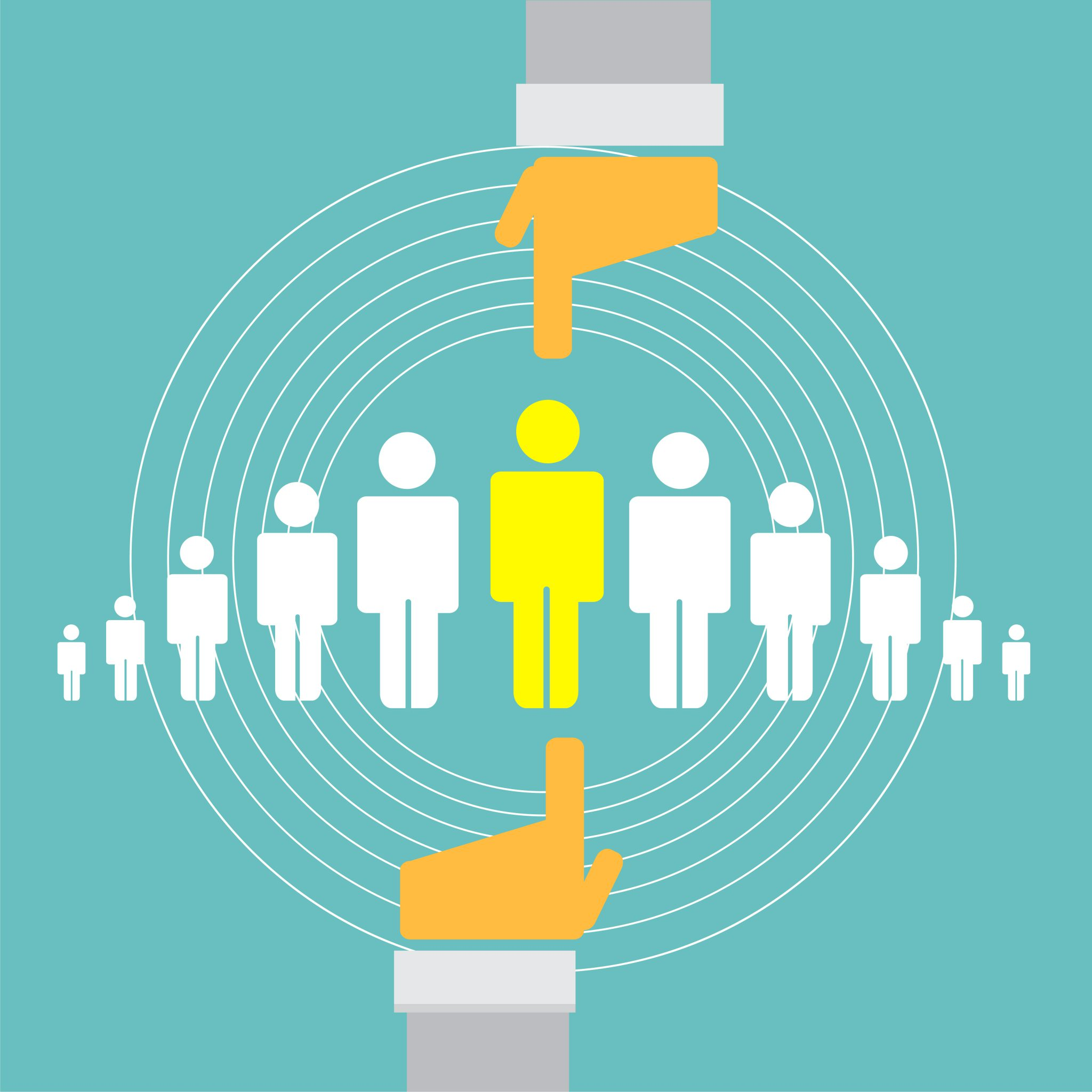 Fingers point to the one person out of ten to choose for succession planning
