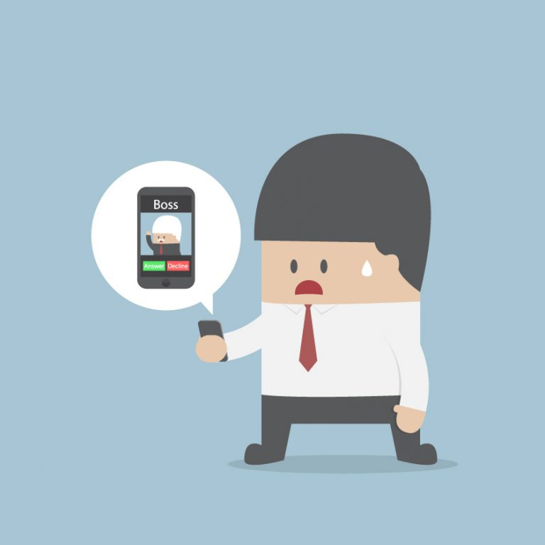 Micromanaging Your Team A cartoon sweats as he takes a call from his boss