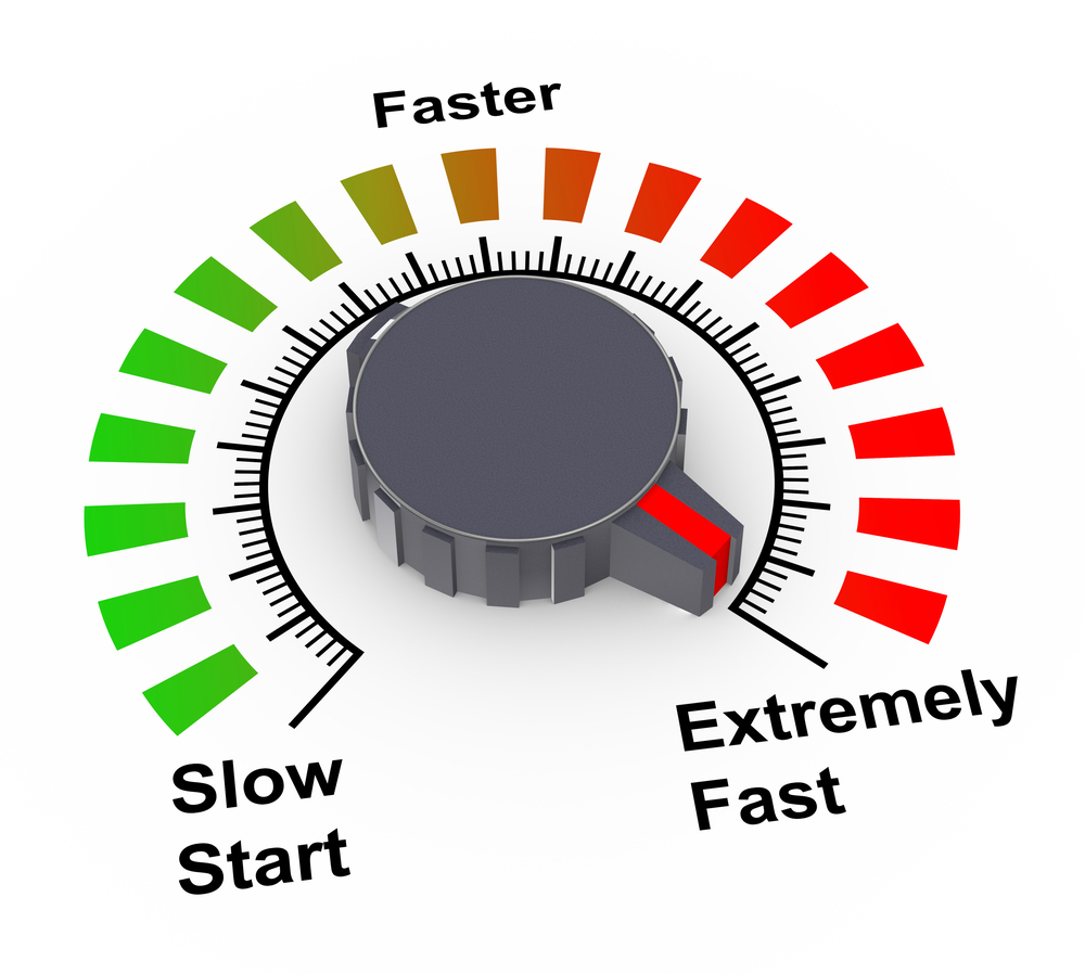 A picture of a meter that goes from slow start to extremely fast