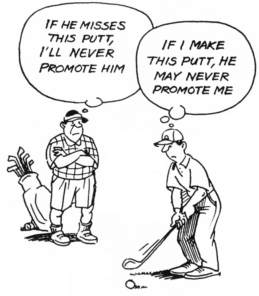 This is a cartoon of a boss and employee on the golf course with very different ideas of whether or not to sink the putt