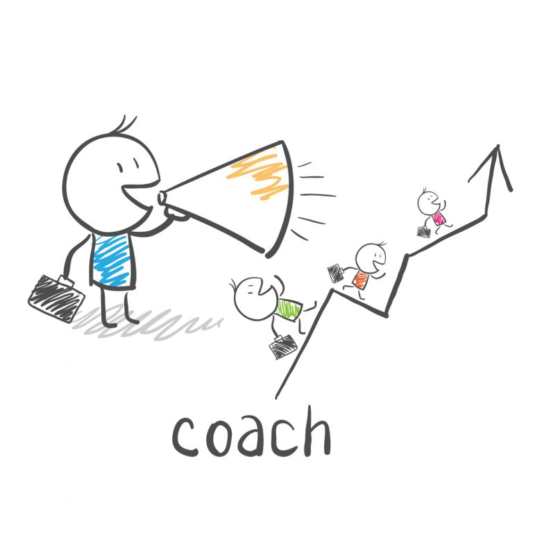 a stick figure coach is encouraging his team with a bull horn to climb up the arrow