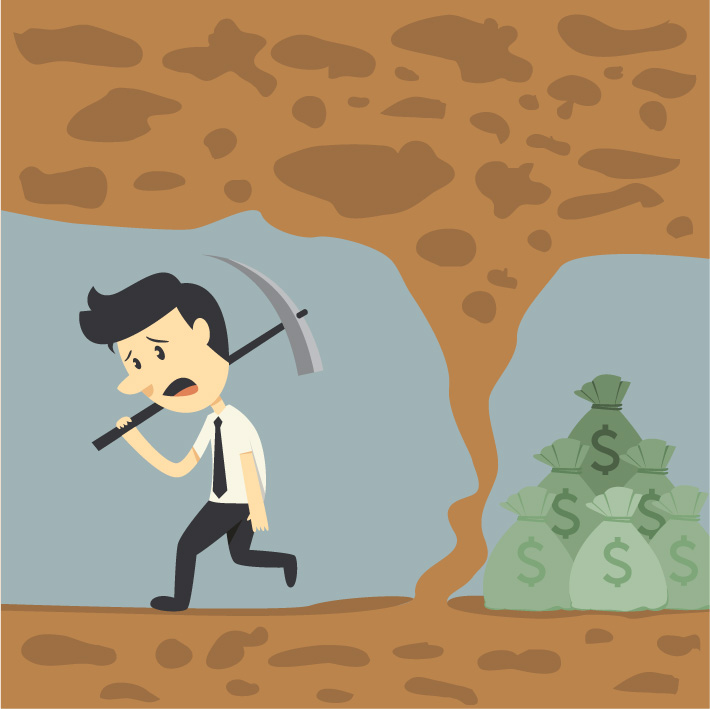 Cartoon of a discouraged miner quitting just when he was near the money goal