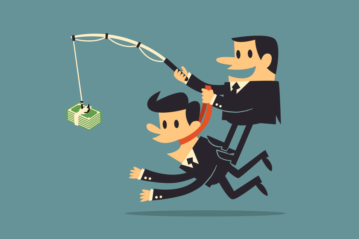 A cartoon businessman chases money on the end of a fishing pole