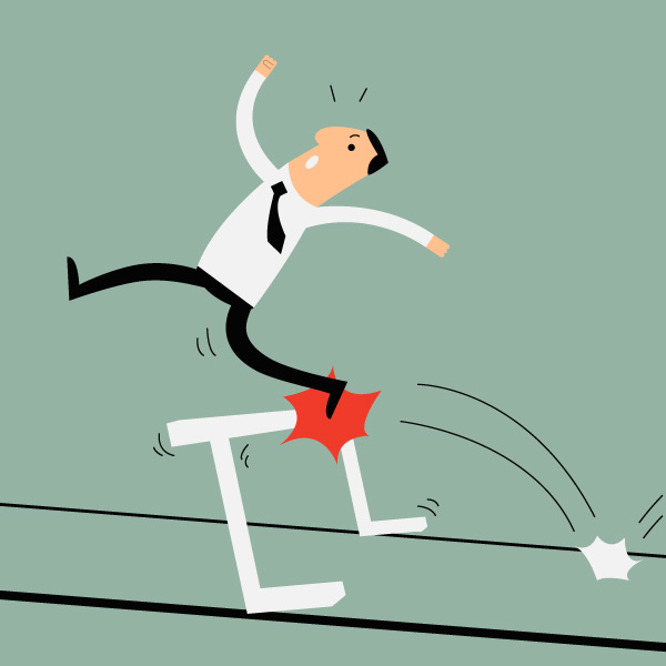 a cartoon businessman is trying to leap over a hurdle but trips