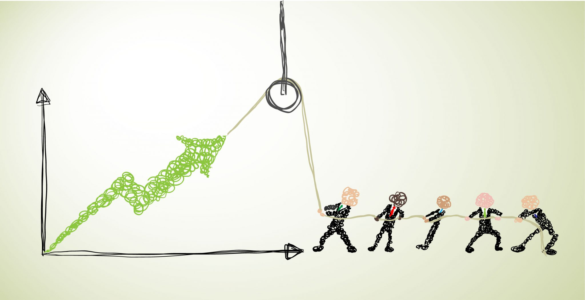 stick figures are pulling up an arrow that indicates Align Sales Culture with Sales Strategy