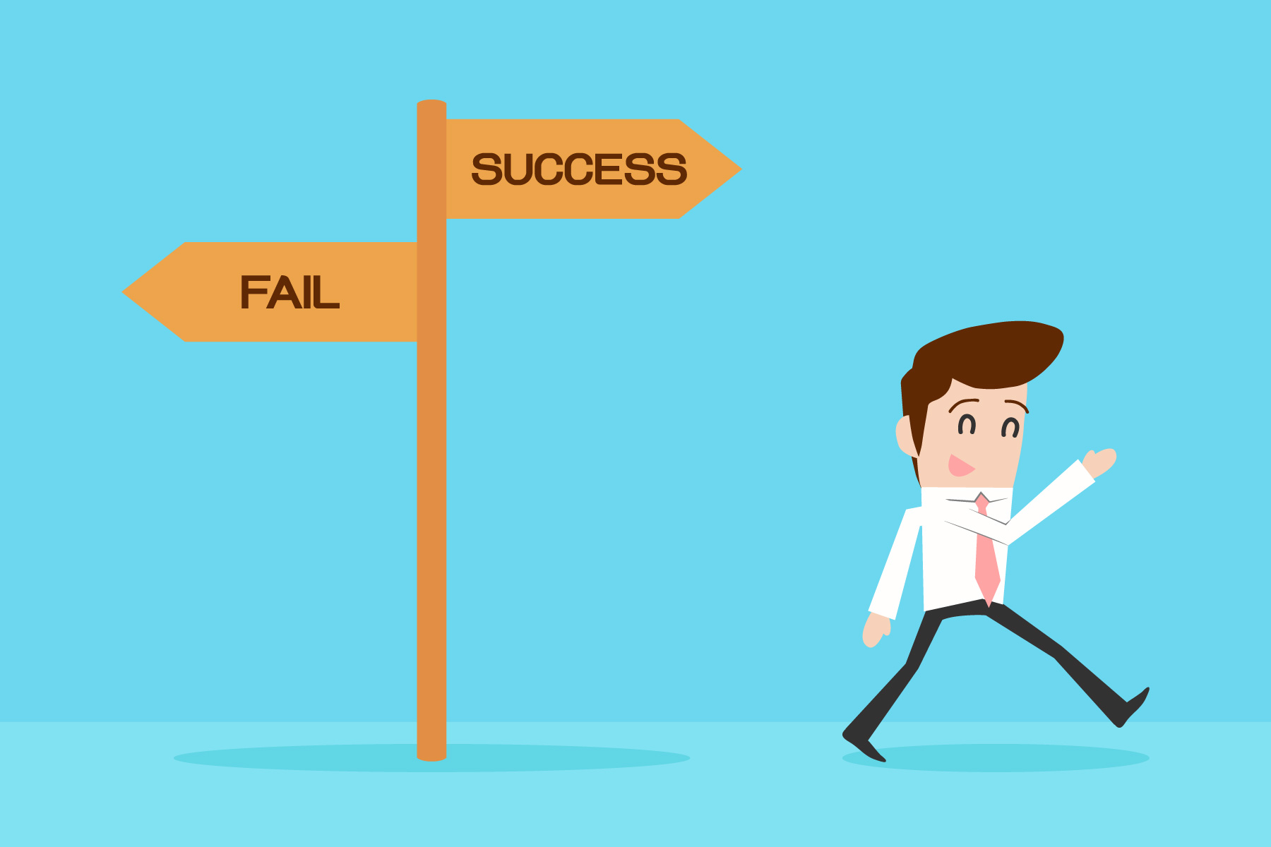 A cartoon man faces two directional signs: one toward success and the other toward failure