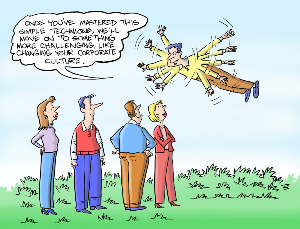 "Cartoon of a man trying to fly by flapping his arms and saying, ""Once you're mastered this simple technique, we'll move on to something more challenging like trying to charge your corporate culture."""