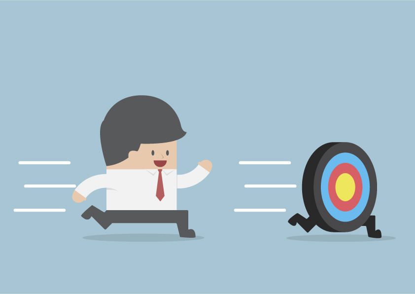 Strategy is a Moving Target cartoon of a man chasing a target on the run