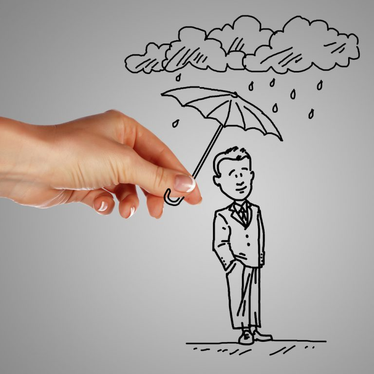Pressure Test Strategy A cartoon businessman and his strategy is protected from rain by an umbrella held by a giant hand