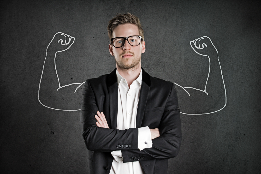 Picture of a businessman with cartoon strong arms showing selling potential