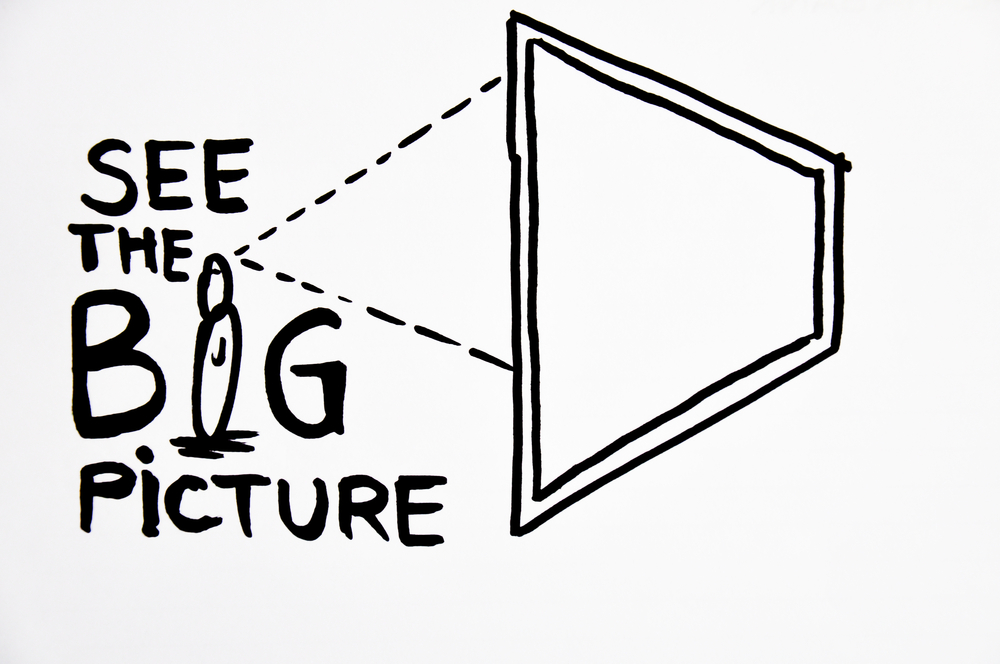 "Projection on a screen of the words ""See the Big Picture"" for strategic clarity"