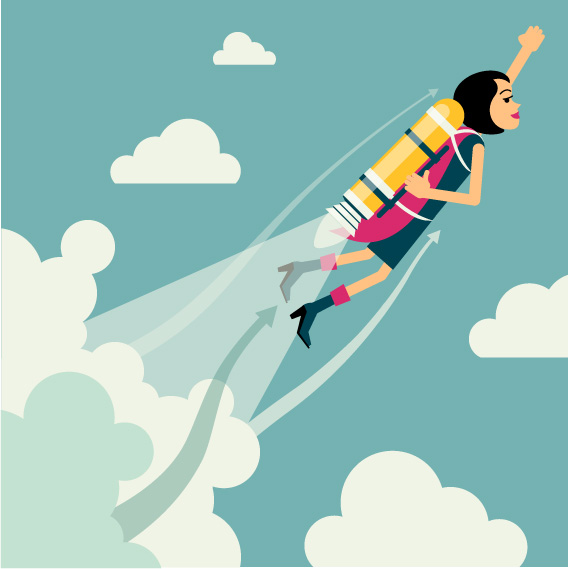 graphic of a woman propelled upward by a rocket showing her superior solution selling training