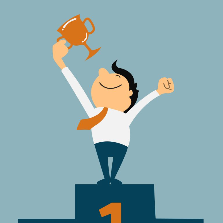 A graphic of a man with an award for award winning employee engagement strategies