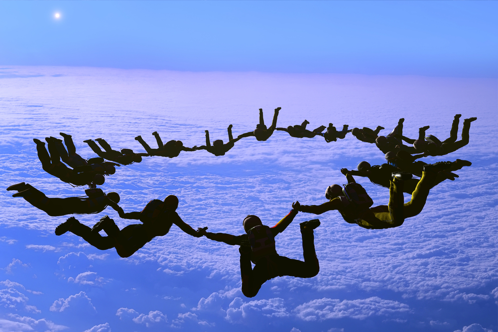 A team of sky divers = high potential employee strategies
