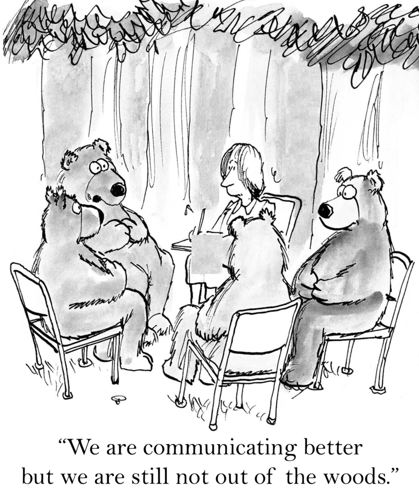 a cartoon of bears in the woods trying as new managers to communicate better