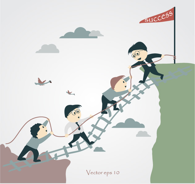 graphic of a team using a ladder to go across a mountain chasm to illustrate how to Follow Through on Employee Engagement Results