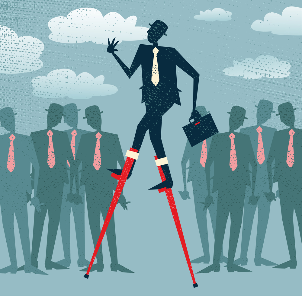 A man walking on stilts above all the others because he has the Solution Selling Advantage