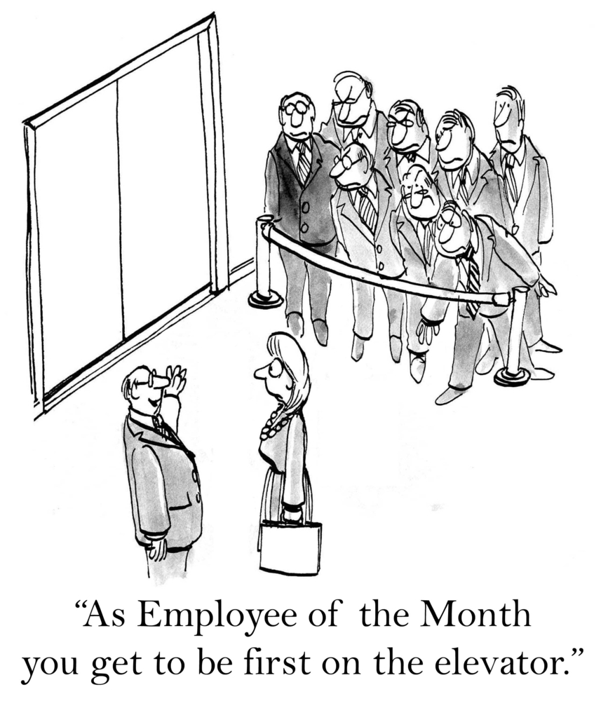 Cartoon of the wrong way of Increasing Employee Engagement Through Recognition