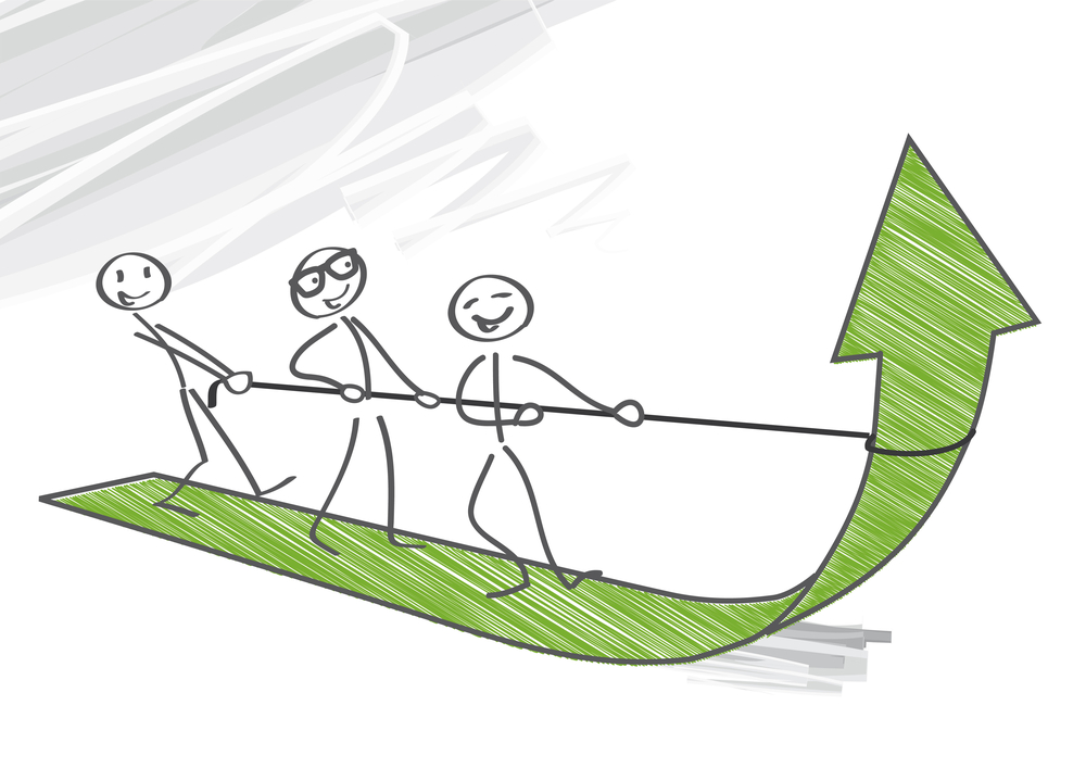 3 stick figures are pulling up a growth arrow to show the right People strategy supports high growth