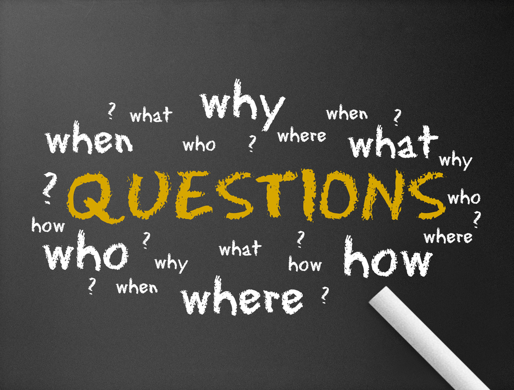 A blackboard with words that show about Asking Good Sales Questions
