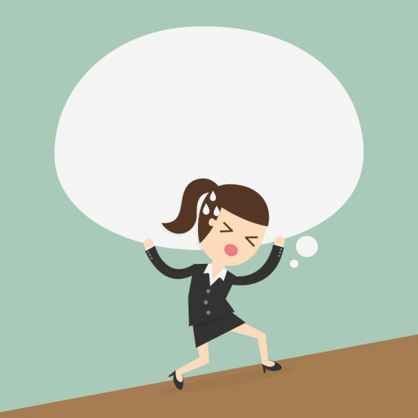 graphic of a woman carrying a heavy load who needs 4 Tips for New Managers on How to Conduct Difficult Conversations
