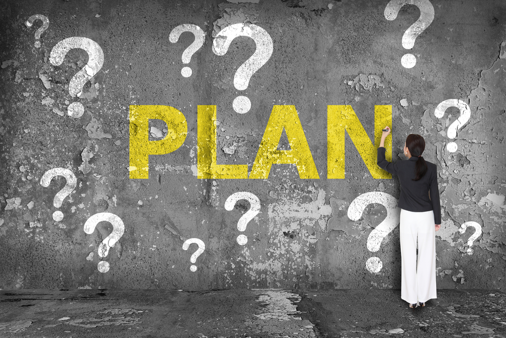 Questions marks around the word PLAN to show New Strategy Questions to Ask Before Launching a New Strategy