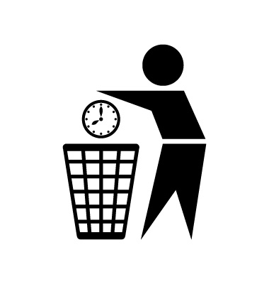 Graphic of someone throwing away a clock to show that Training By Itself Is a Waste