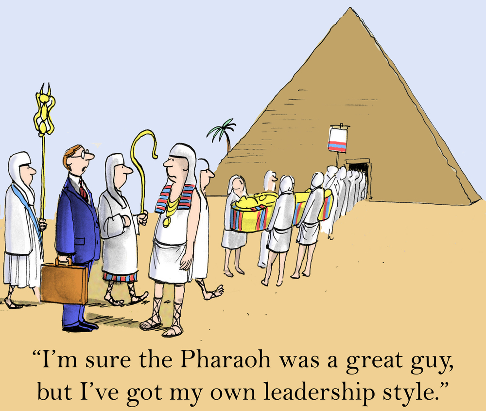 Cartoon of a businessman in front of an Egyptian tomb making the point to the Pharoah that there are many Sales Negotiation Styles