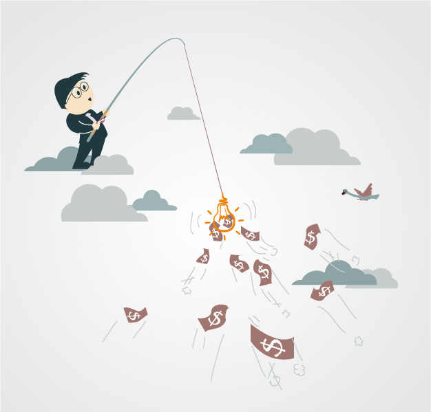 graphic of a salesman casting a line into the water to snag money but this is not the way to Optimize Sales Success