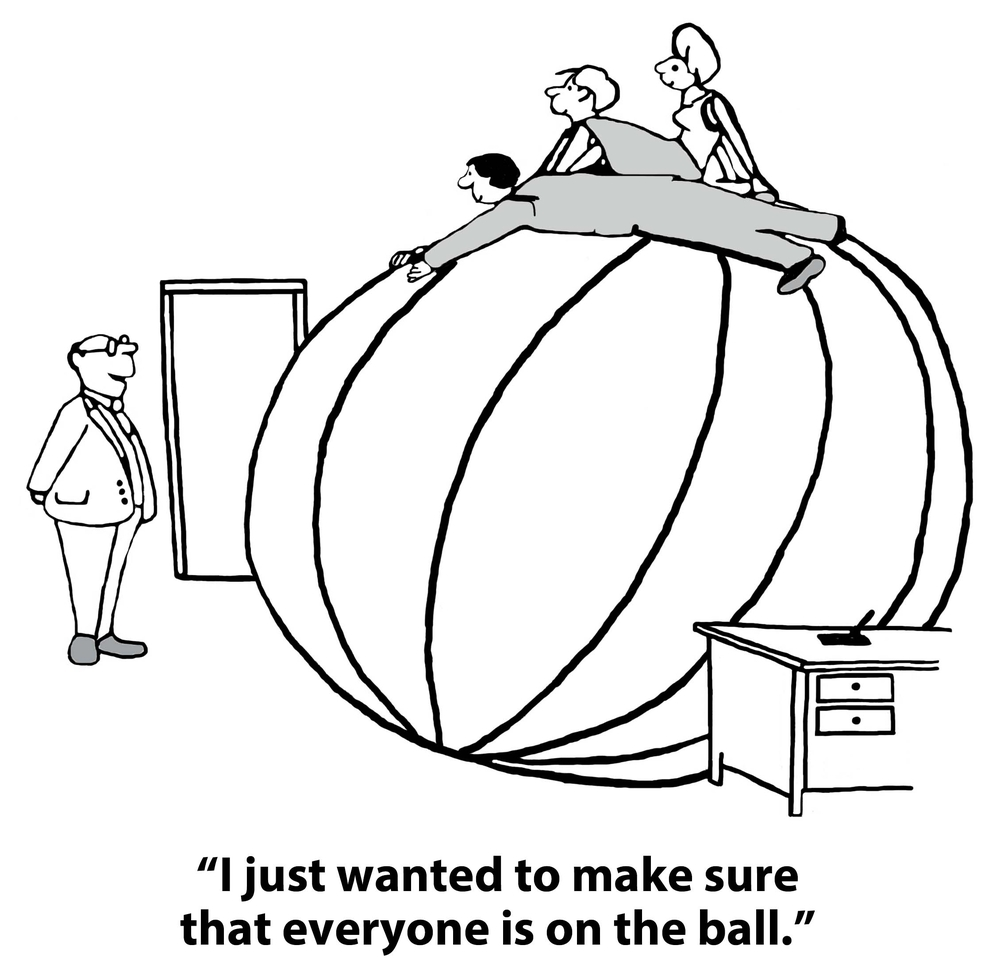 a cartoon where everyone is on the ball with Things Employees Can Do to Improve Engagement