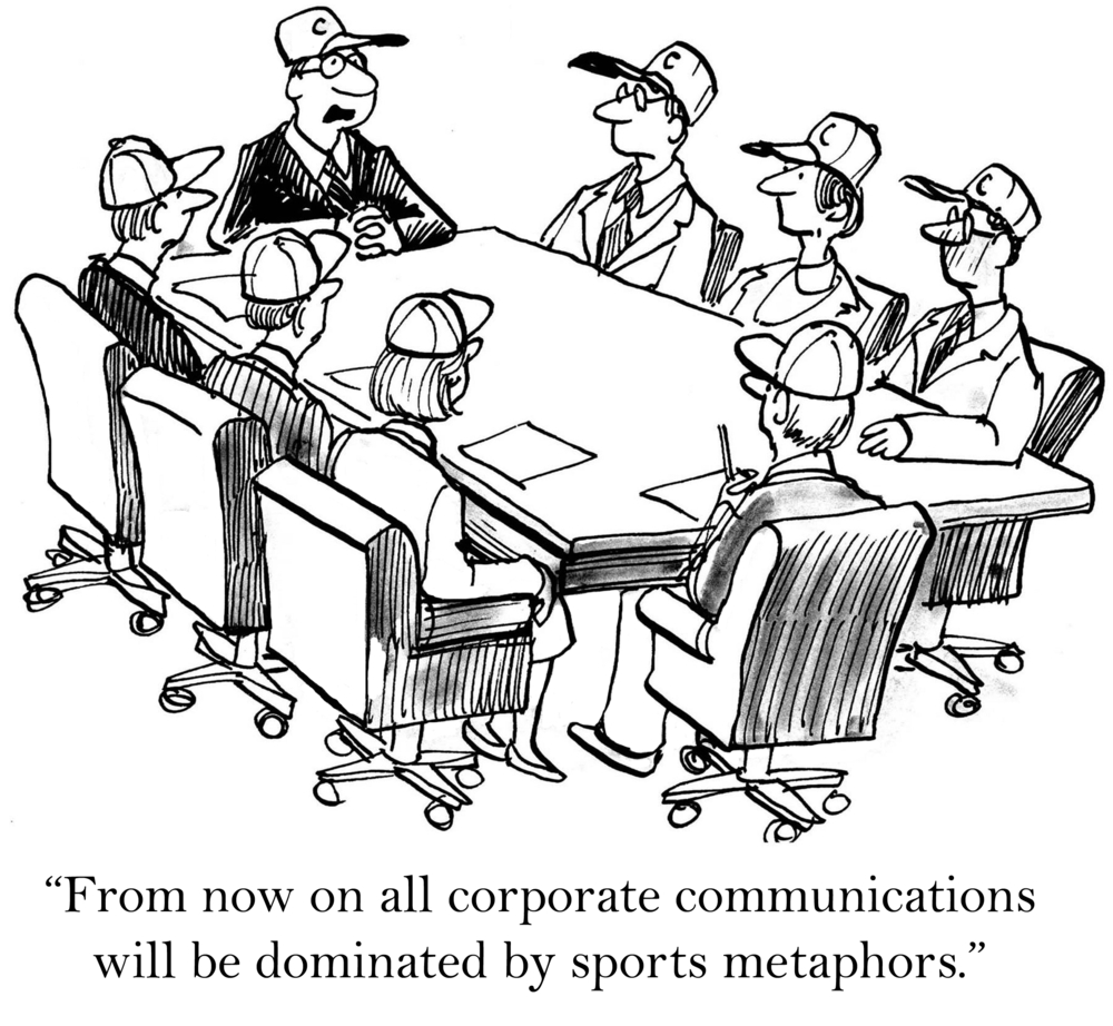 a cartoon with all employees wearing baseball caps as a sports metaphor for Good Managers Are Great Communicators