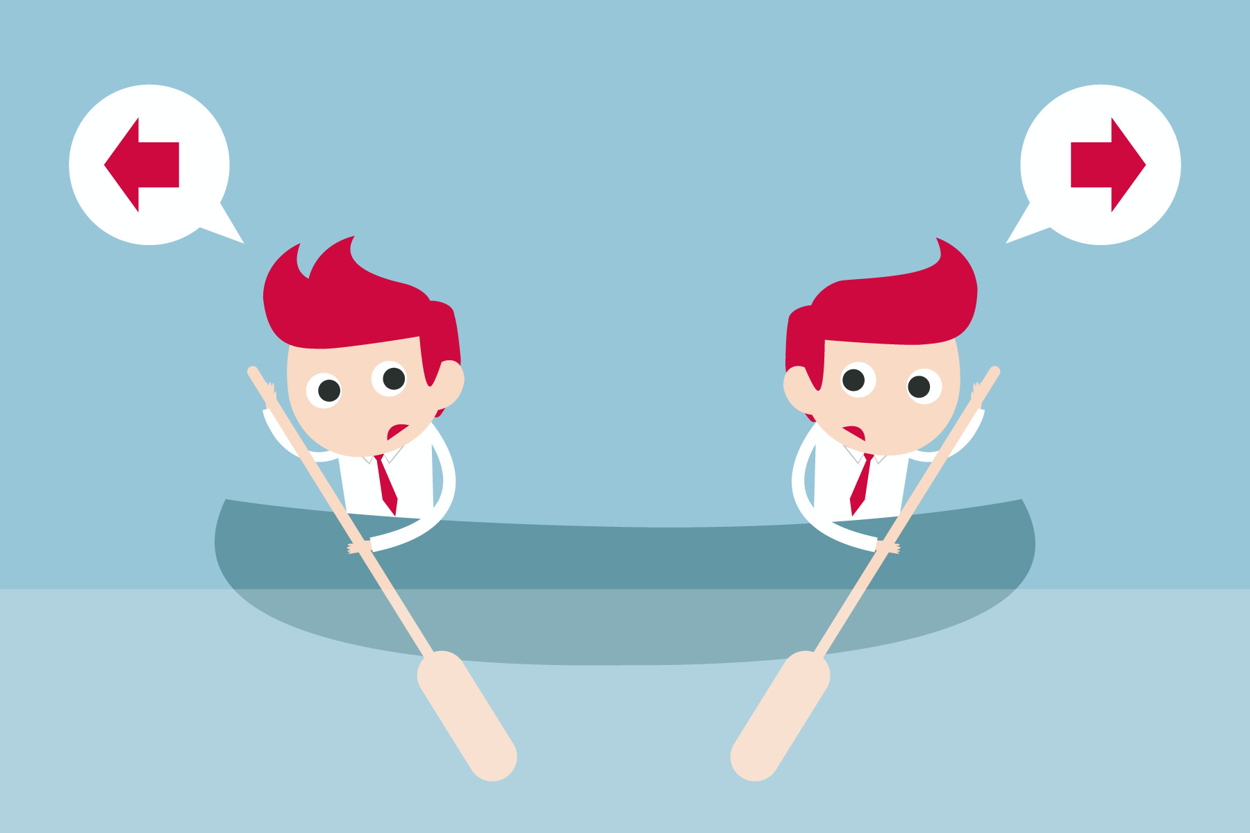 graphic of two men in the same boat pulling in different directions to show the dilemma between Product Training versus Sales Training