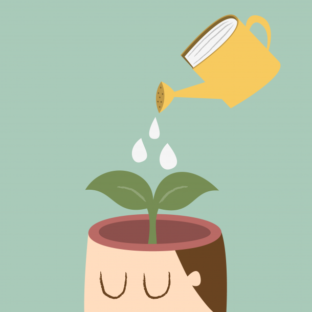 a graphic of watering the brain in order to cultivate the right work habits