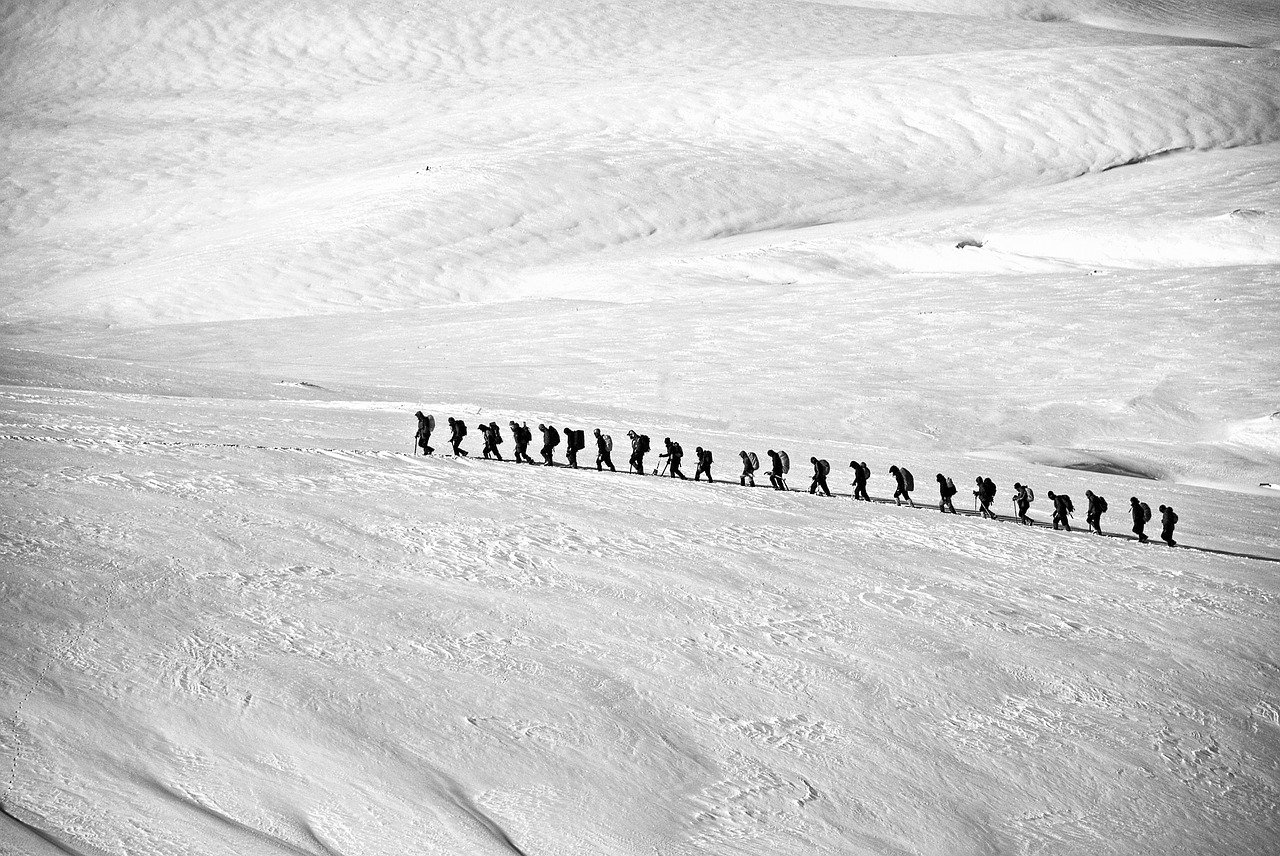 Trekkers in a line showing the Power of Strategic Alignment