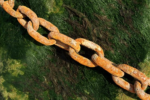 a rusty chain showing Weak links in your corporate culture