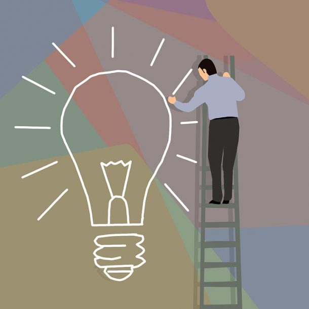 upgrade core skills with a great idea shown as a light bulb